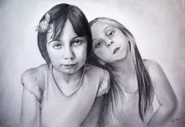 Dviejų žmonių portretas, pieštas iš nuotraukos